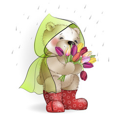 Teddy bear with a bouquet of tulips standing in the rain1