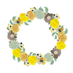 Beautiful greeting card with floral wreath. Holiday and cute