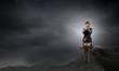 canvas print picture - Scared businesswoman