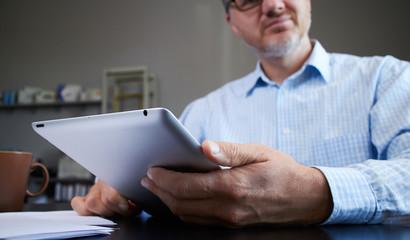 businessman with digital tablet