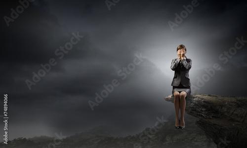 canvas print picture Scared businesswoman
