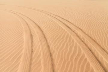Car prints in sand, Boavista - Cape Verde