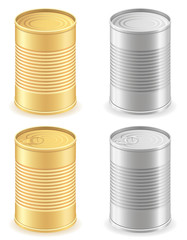 metal tin can set icons vector illustration
