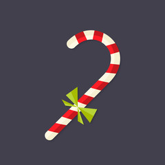Candy Christmas Stick with Bow Flat Icon