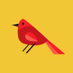 Bullfinch Bird Christmas Flat Icon