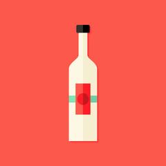 Christmas Bottle of Wine Flat Icon