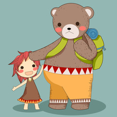 Bear and girl travel vector