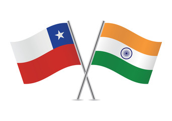Chilean and Indian flags. Vector illustration.
