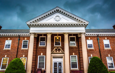 Storm clouds over a building at the Lutheran Seminary in Gettysb