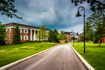 Storm clouds over building and road at Gettysburg College, Penns