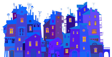 Winter urban facades