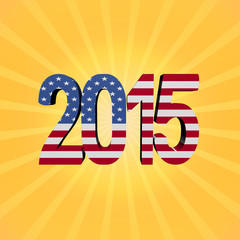 American flag 2015 text on sunburst illustration