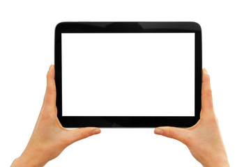 hands holding blank digital tablet isolated on white