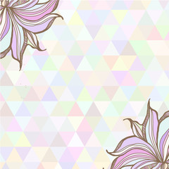 Hand drawn illustration with ornament  with triangles backdrop.