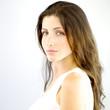Italian female model with green eyes looking