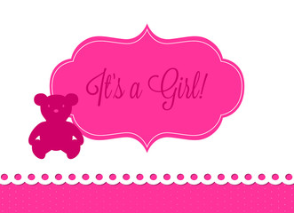 baby shower, silhouette of a pink teddy bear on light background