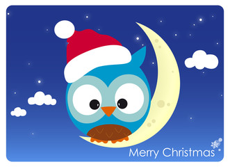 christmas card, owl with santa's hat sitting on a crescent moon