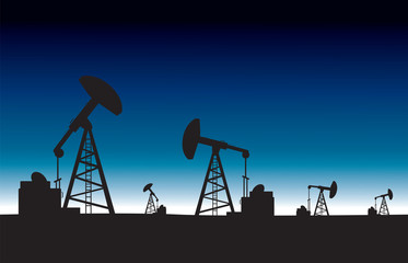 Oil pump field at dawn background.vector illustration