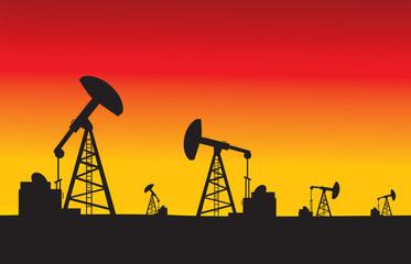 oil pumps in sunset vector illustration