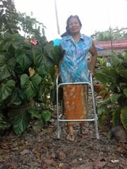 Asian Thai senior woman with walker in park