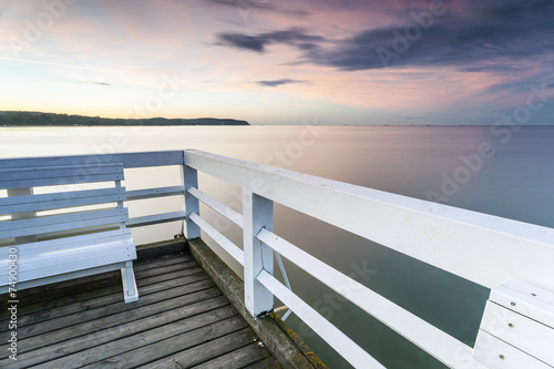 Romantic bench on The longest wooden pier in Europe - 74900430