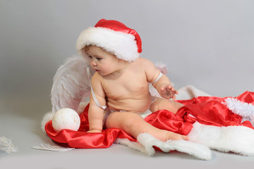 child in the new year with angel wings