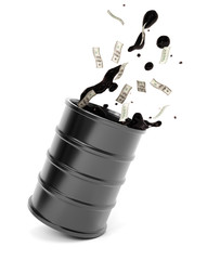 Barrel of oil with splash and dollars