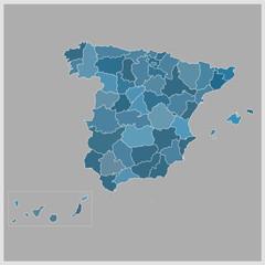 mapa provincias españa azul