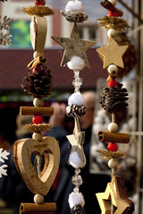 Christmas ornaments hanging vertically