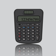 Calculator reflection on gray background