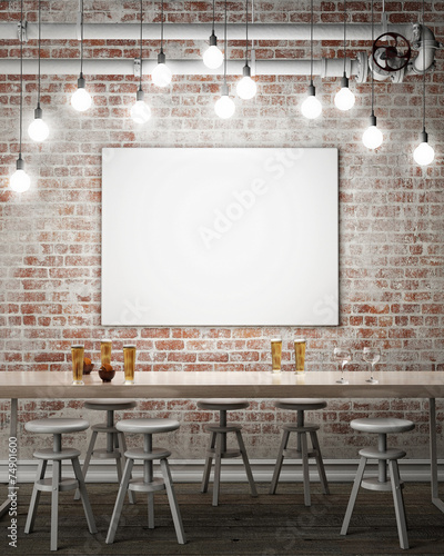 mock up poster with retro cafe restaurant interior background - 74901600