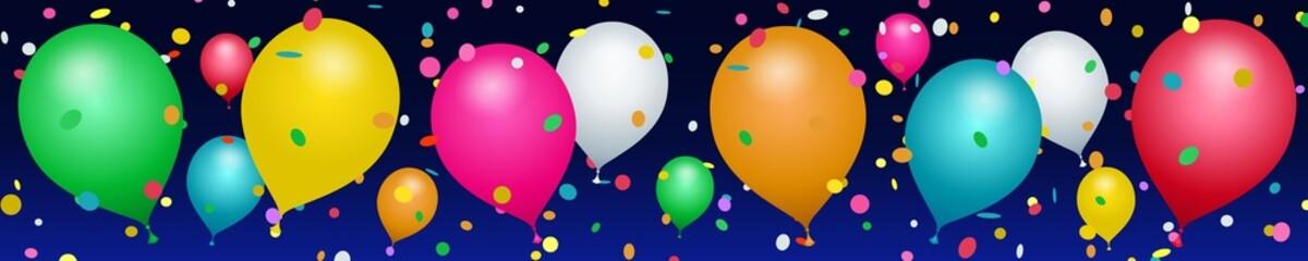 Bannière ballons et confettis colorés