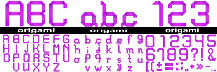 Conceptual set of pink paper origami font