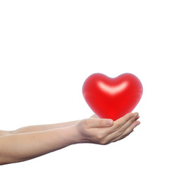 Human hand with heart