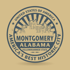 Grunge rubber stamp with name of Montgomery, Alabama