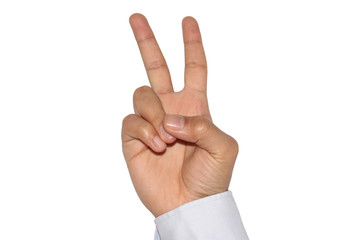 A victory or V-sign of a male's right hand on a white background