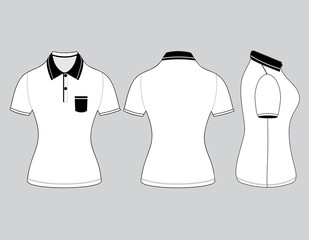 polo woman shirt design templates (front, back and side views).