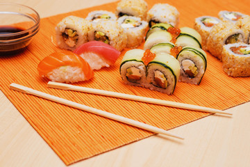 sushi and rolls