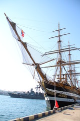 old sailing ship in the port