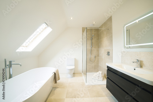 Interior View Of Beautiful Luxury Bathroom - 74904244