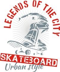 Skateboarding - urban style, vector illustration