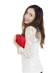 Valentines day woman with a heart