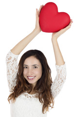 Valentines day woman showing a heart