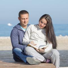 Attractive couple on seashore