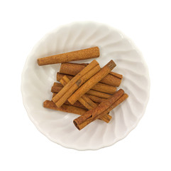Cinnamon Stick Group Top View In Bowl