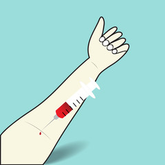 The blood test of syringe in the arm vein