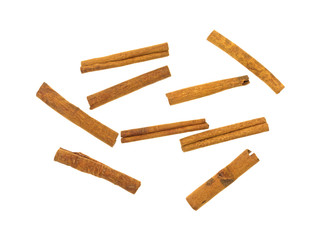 Cinnamon Stick Group Top View White Background.