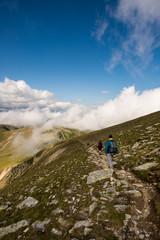 Hiker at Fagaras Mountains, Southern Carpathians, Romania