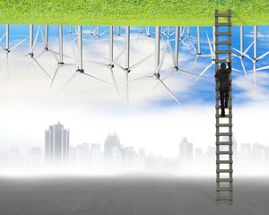 businessman climb on wood ladder between two inverted world