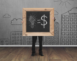 businessman holding blackboard with hand-drawn ideas equal money